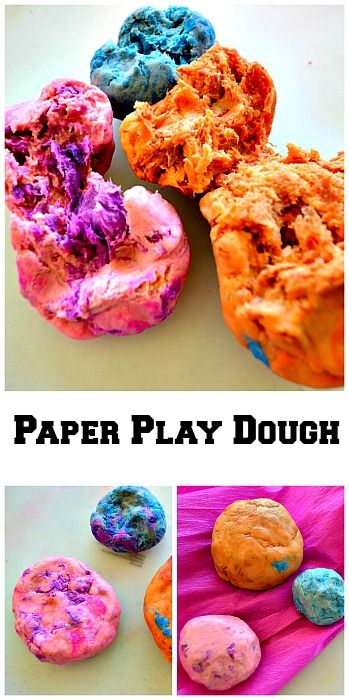Fun homemade play dough recipe with a unique texture and uses paper!