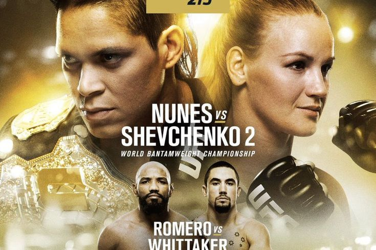 "http://realcombatmedia.com/2017/07/ufc-213-countdown-episode-ufc-insider-preview-show/Follow   UFC 213 COUNTDOWN EPISODE Event: UFC 213: ""Nunes vs Shevchenko 2"" Date: Sat., July 8, 2017 Location: T-Mobile Arena in Las Vegas, Nevada Broadcast: Pay-Per-View (PPV), FOX Sports 1, UFC Fight Pass UFC 213 PPV Main Event: 135 lbs.: UFC Bantamweight Champion Amanda Nunes vs. Valentina Shevchenko UFC 213 PPV Co-Main Event: 185 …"