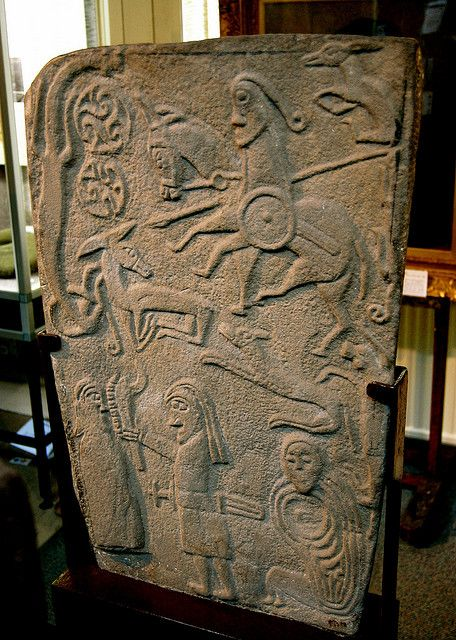 Inchbrayock stone, back,,  Montrose Museum,, Angus. The stone was found in the burial-ground of St Braoch's Church,