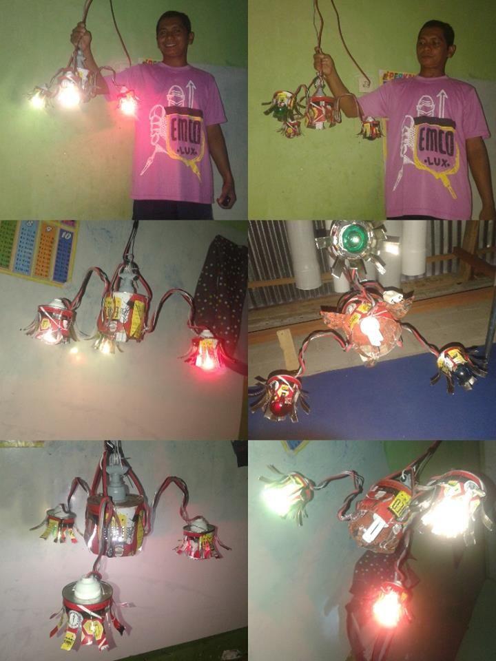 Kreasi kaleng kiriman Fitri Yanti  Lampu hias untuk ruang makan #KalengKreatifEMCO