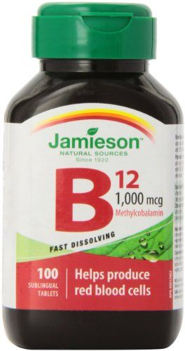 Jamieson Vitamin B12 1,000mcg sublingual tablets. 100 Count Jamieson http://www.amazon.ca/dp/B00BMTIN0W/ref=cm_sw_r_pi_dp_YaPzub0KYGBSM  buy from Amazon.ca.  Read that 50 percent of people are unable to metabolize this from cyanocobalamin and deficiency can be very detrimental to health.  Naturally occurs in fish, eggs, animal products.  Ridges in nails symptom of deficiency!!