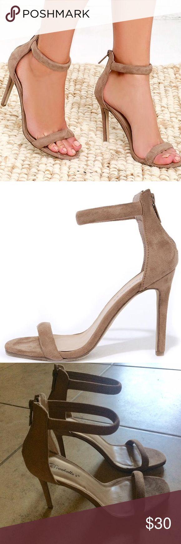Beige Strappy Heels Beige, size 10 Breckelles Shoes Heels