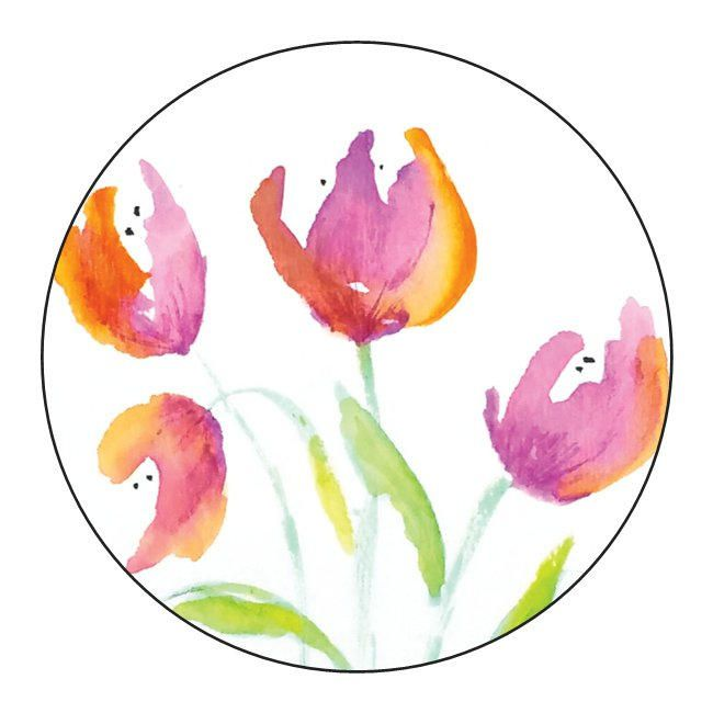 Floral Tulips Envelope Seals Envelope Seals Invitations Stationary Tulips Flowers Watercolor Prints Floral Painting Floral Watercolor Watercolor Flowers