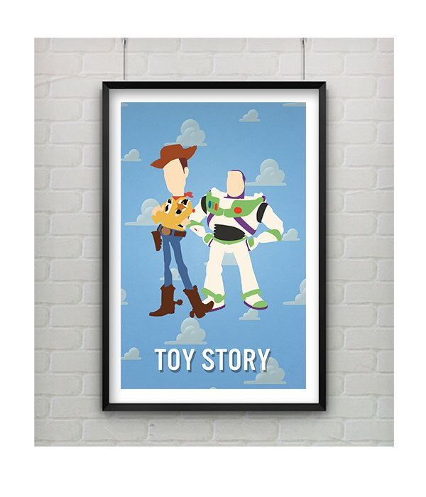 Toy Story Minimalist Art Print, Woody and Buzz Toy Story Disney Minimalist Print, Toy Story Poster,  Disney Art 11x17 by CaptainsPrintShop on Etsy https://www.etsy.com/uk/listing/177723262/toy-story-minimalist-art-print-woody-and