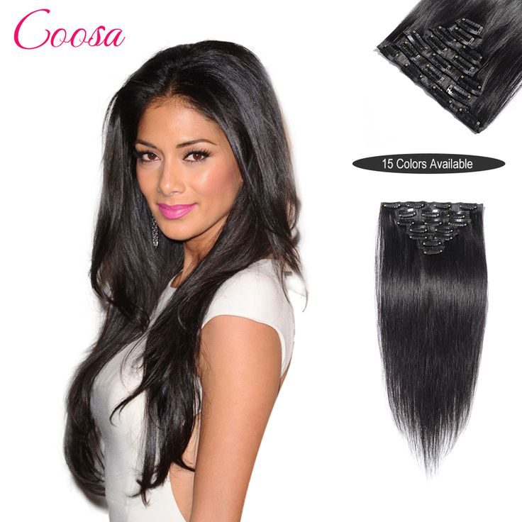 200 G Clip In Hair Extensions Jet Black 100% Remy Human Clip Ins Hair Extensions 16 TO 26 Inches aplique tic tac cabelo humano