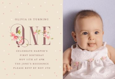 Floral one printable invitation template. Customize, add text and photos.  Print, download, send online or order printed!  #invitations #printable #diy #template #birthday #firstbirthday #1stbirthday #party
