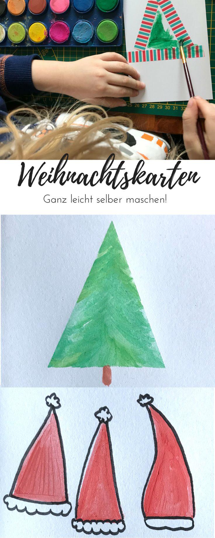 DIY Weihnachtskarten kann man ganz leicht selber machen. Hier zeige ich euch 4 Motive, die ihr ganz leicht mit euren Kindern basteln könnt. #weihnachtskarten #bastelnmitkindern #weihnachtendiy