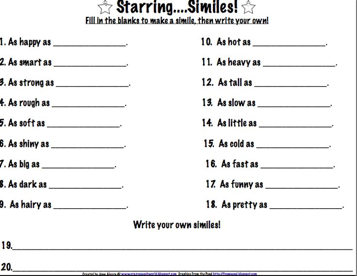 similes for kids worksheets