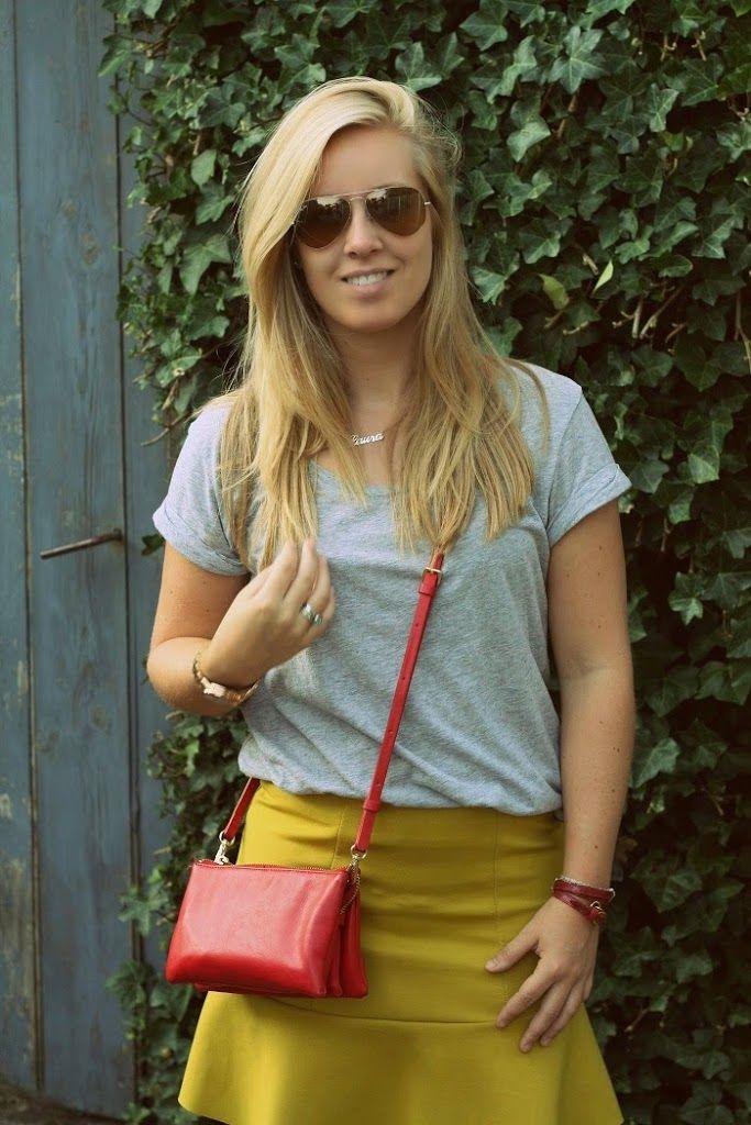 Yello Ochre H&M skirt. Outfit van afgelopen zomer met peplum rok #thenewgirlintown #Summer #outfit