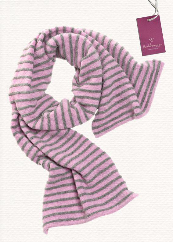 Ringelschal, 200 x 35 cm, rosa-sibergrau, 100% Lambswool, 79,90 EURO www.heidekoenigin.de