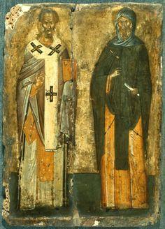 Ο Άγιος Νικόλαος, αριστερά, και ο Μέγας Αντώνιος, στα δεξιά.