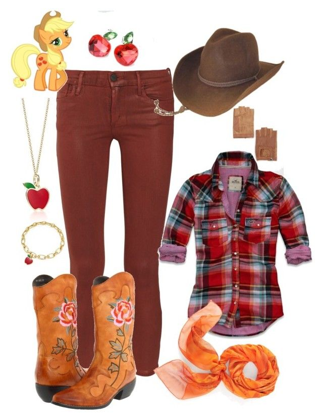 """""""Applejack"""" by ru-debega ❤ liked on Polyvore featuring Goldsign, Spring Step, My Little Pony, Deena & Ozzy, Hollister Co., Grace and Hermès"""