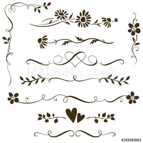 Set Of Calligraphic Fl Elements With Hearts For Wedding