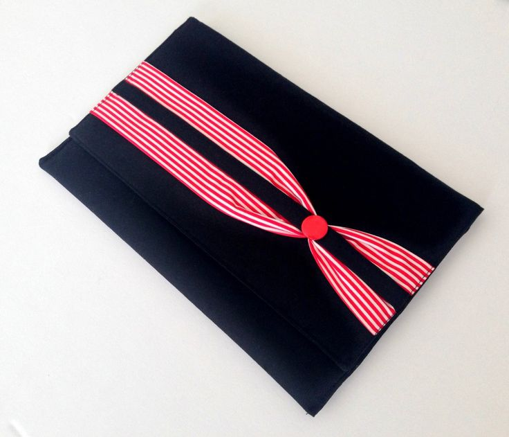 Ladies Black Clutch with red and white stripe band and two pockets Size 28 by 18 cms Evening clutch Black clutch purse Stripe clutch (30.00 AUD) by AddaSplashofColour