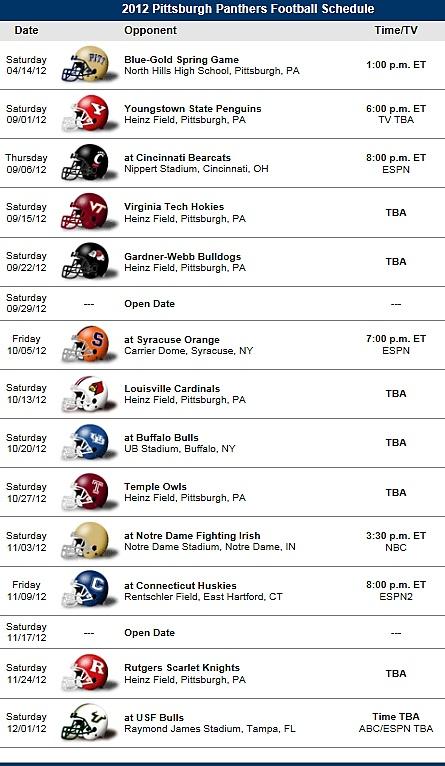 Pitt Panthers Football 2012 Schedule
