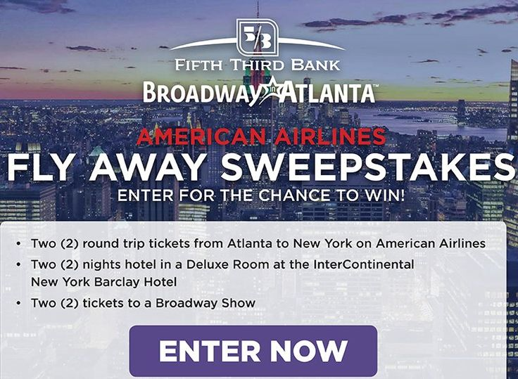 Win a $2,100.00 Two round trip tickets from Hartsfield-Jackson Atlanta International Airport in Atlanta to JFK International Airport in New York City, two nights hotel accommodations at the InterContinental New York Barclay Hotel, and two tickets to a...