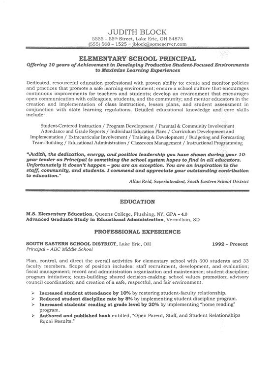School Administrator / Principal\u0027s Resume Sample Pinterest - professional accomplishments resume