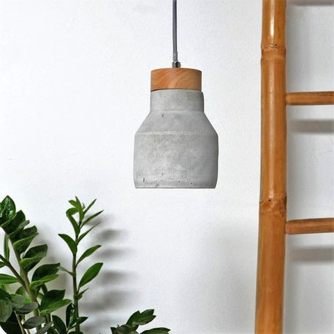 Imogen Concrete Pendant Light with Combined Timber Top