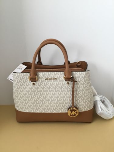 7de14d0205c87 MICHAEL Michael Kors Women s Savannah Lg Satchel Acorn Vanilla Handbag