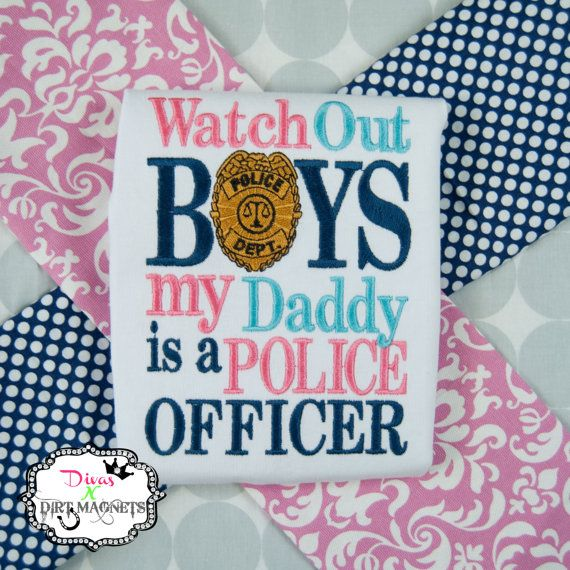 Watch Out Boys My Daddy is A Police Officer Embroidered Shirt with Matching Hair Bow, Girls Police Shirt, My Daddy Shirt, Police Hair Bow