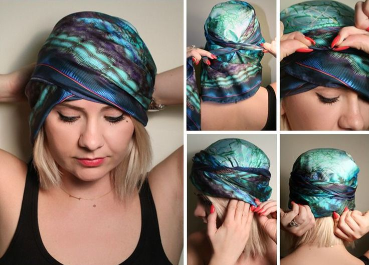 Chica mostrando un tutorial de como ponerse un pañuelo en la cabeza