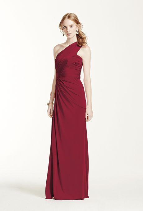 Brides: David's Bridal. Style F15969, long one-shoulder jersey gown, $159, David's Bridal