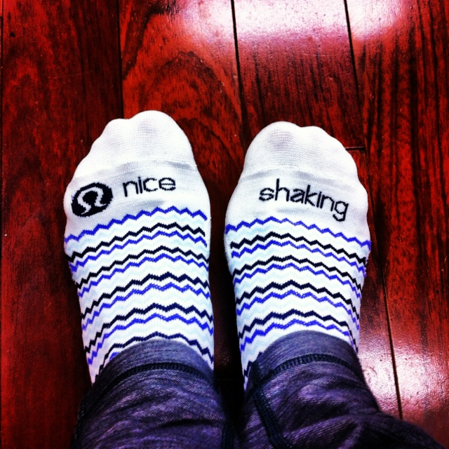 Nice Shaking grippy socks from Lululemon - perfect for pure barre