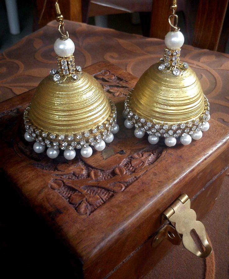 Extra large gold jewel jhumkas