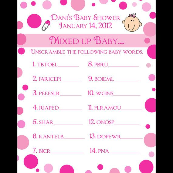 24 Personalized Word Scramble Baby Shower Game Cards Pink Polka Dot Design