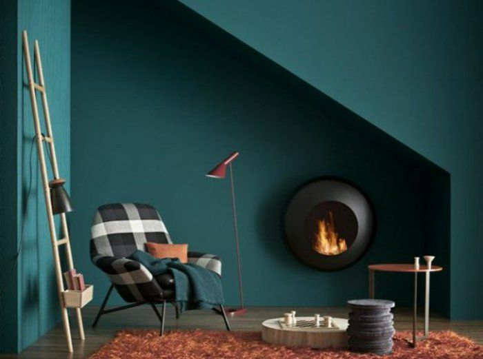 salon bleu canard peinture bleu paon bleu chemine - Salon Bleu Vintage