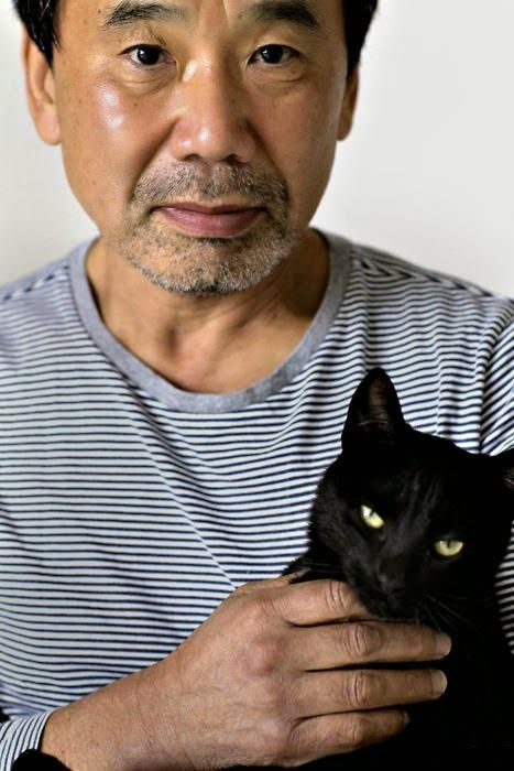 Haruki Murakami with cat