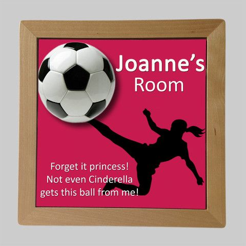 Personalised Framed Tile, Children's Room Sign, Soccer Girl
