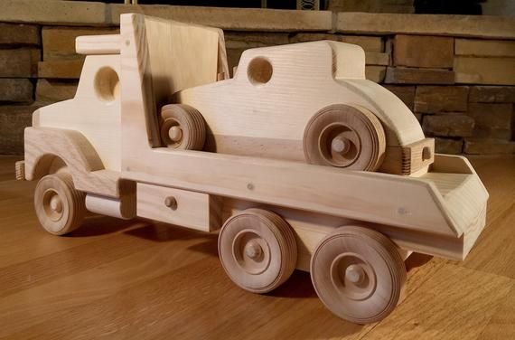 Handmade Wooden Flatbed Truck With Car Toy Etsy With Images Handmade Wooden Wood Toys Wooden Toys