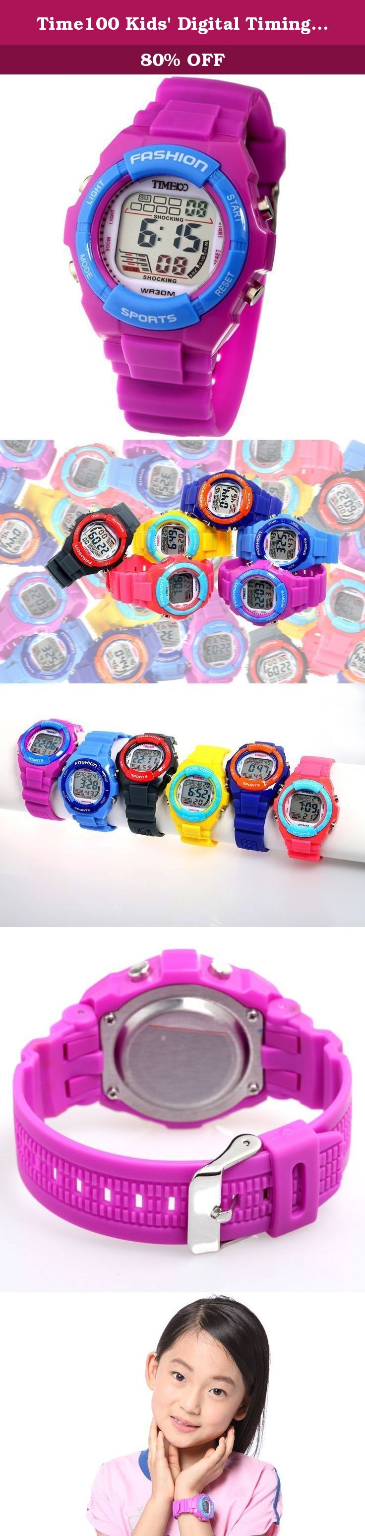 Time100 Kids' Digital Timing Multifunctional Purple Strap Sport Electronic Watch #W40011L.06A. How to Set up a Digital Watch Setting time: Press MODE button 3 times to set day, date, month, hour, minute and second. Use START button to set the number and use RESET button to shift. Press MODE button to save and exit the settings. Setting alarm: Press MODE button 2 times to set alarm time. Use START button to set the number and use RESET button to shift. Press MODE button to save and exit…