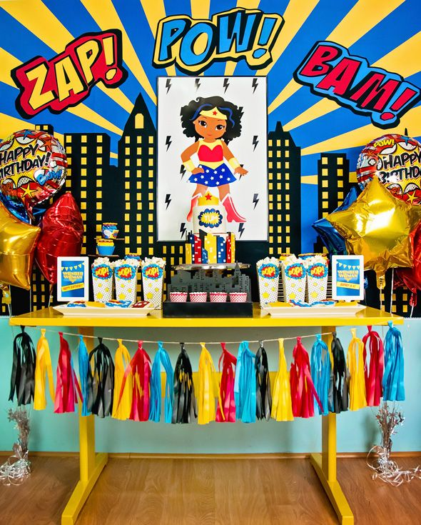 Wonder Woman Birthday Party. This party was all about GIRL POWER. From the custom dessert table, to the superhero photo booth. Check it out!