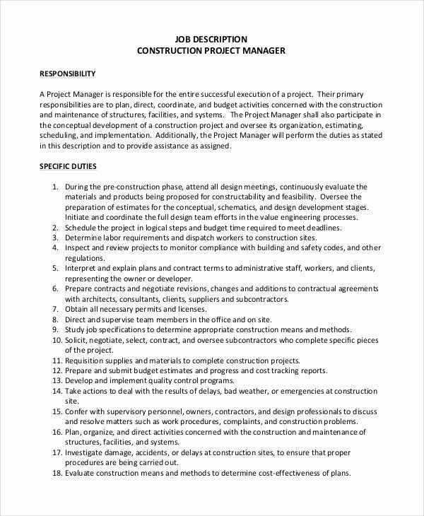 Project Manager Job Description Resume Inspirational Sample Construction Project Manager Job Description 8 Examples In Pdf