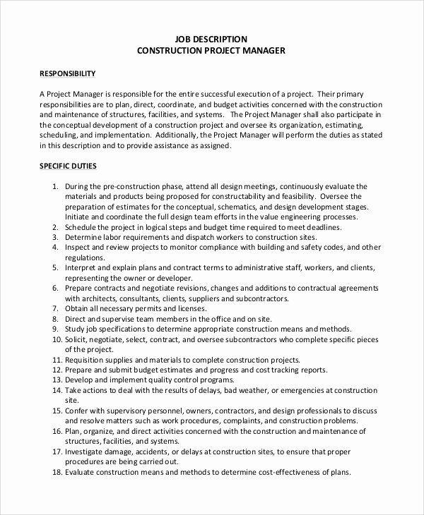 Construction Project Coordinator Resume Beautiful Sample Construction Project Manager Job In 2020 Job Resume Samples Job Description Teaching Assistant Job Description