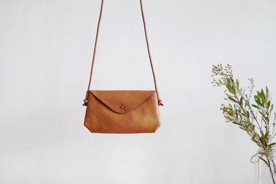 Small Envelope Crossbody Bag - minimal leather shoulder bag
