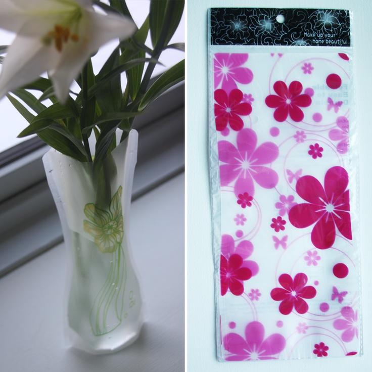 Foldbar vase – Lyserød/pink store bolster, 20,-