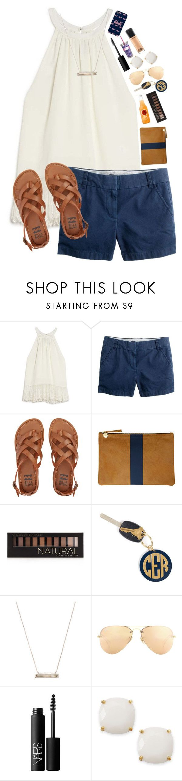 """""""Going to Florida this summer!!"""" by lacrosse-19 ❤ liked on Polyvore featuring OTTE, J.Crew, Billabong, Clare V., Forever 21, Hartford, Vineyard Vines, Kendra Scott, Ray-Ban and NARS Cosmetics"""