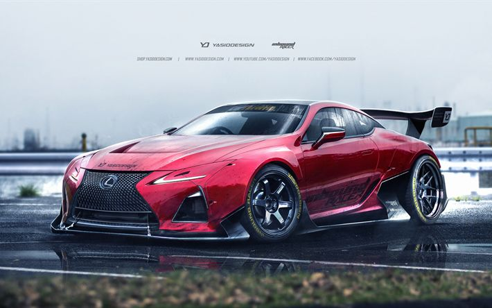 Descargar fondos de pantalla 4k, Lexus LC 500, arte, supercars, los coches japoneses, tuning, Lexus