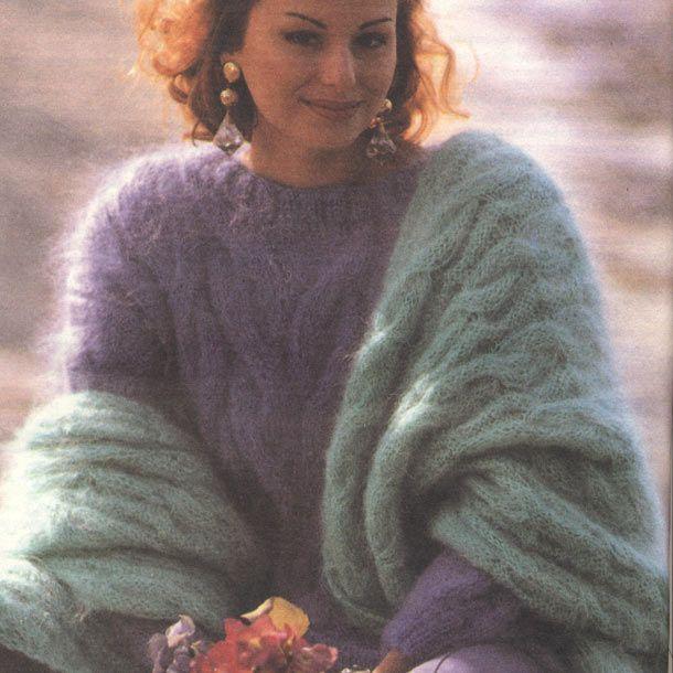 Мохеровый пуловер и шарф