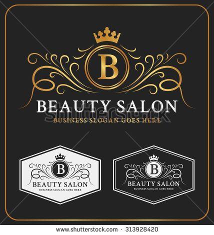 Beauty Salon Heraldic Crest Logo Template Design. Flourish line monogram logotype. Vector illustration - stock vector