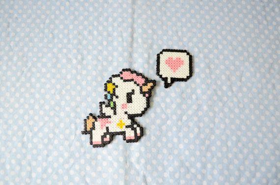 Kawaii Unicorn  Hama Beads Keychain by CreepyMermaiid on Etsy