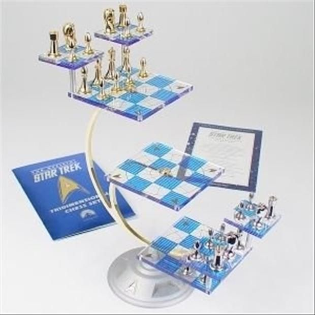 Star Trek Tri-Dimensional Chess Set - 24kt Gold and Sterling Silver Plated Chess Pieces http://www.dumpaday.com/random-pictures/great-gifts-for-geeks-37-pics/#