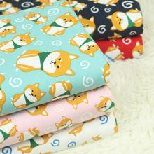 Media yarda de exportación Japonesa de dibujos animados de perro de algodón tela de lino, edredones hechos a mano DIY paquete de oro boca paño prenda CR-A18(China (Mainland))