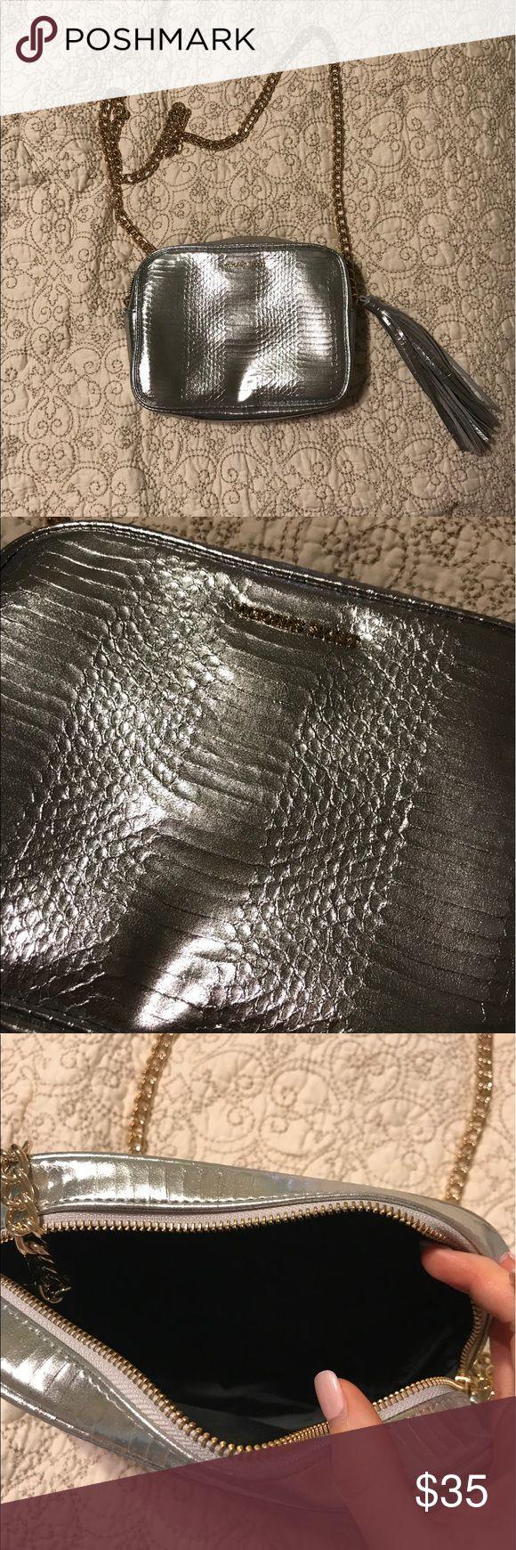 Victoria's Secret Silver Metallic Purse Brand new never used Victoria's Secret silver metallic purse. Zipper. Chain strap. Gold details (zipper, emblem on front, chain). Silver metallic tassel Victoria's Secret Bags