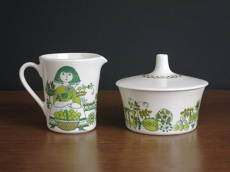 Vintage Figgjo Market Cream & Sugar - 1960s Scandinavian Design - Turi Gramstad Oliver Design - Figgjo Flint Norway Whimsical Market Pattern by EightMileVintage on Etsy