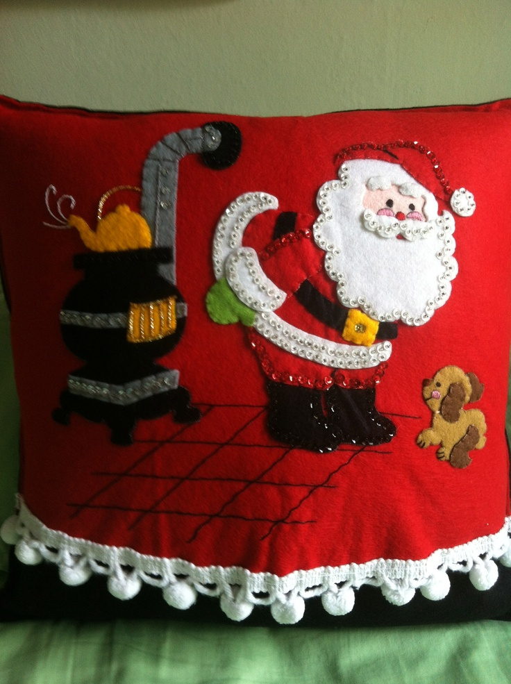 Vintage Bucilla Tree Skirt that I turned into 4 different pillows