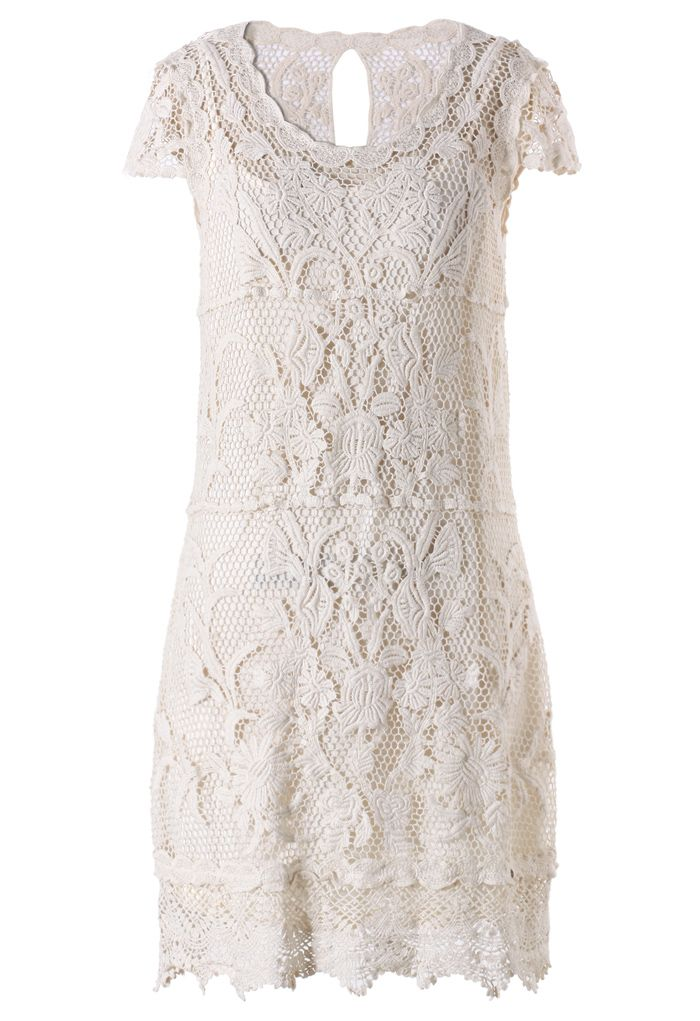 Off-white Whole Crochet Shift Dress